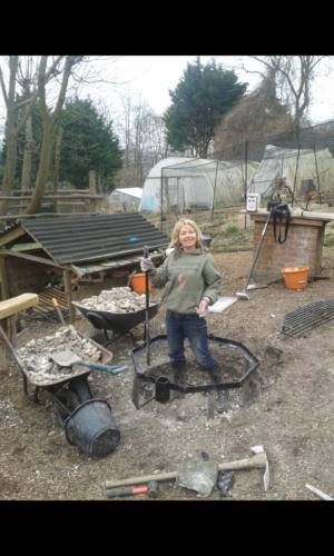 daisy helping build firepit 2012