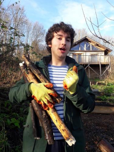 larbi collecting wood